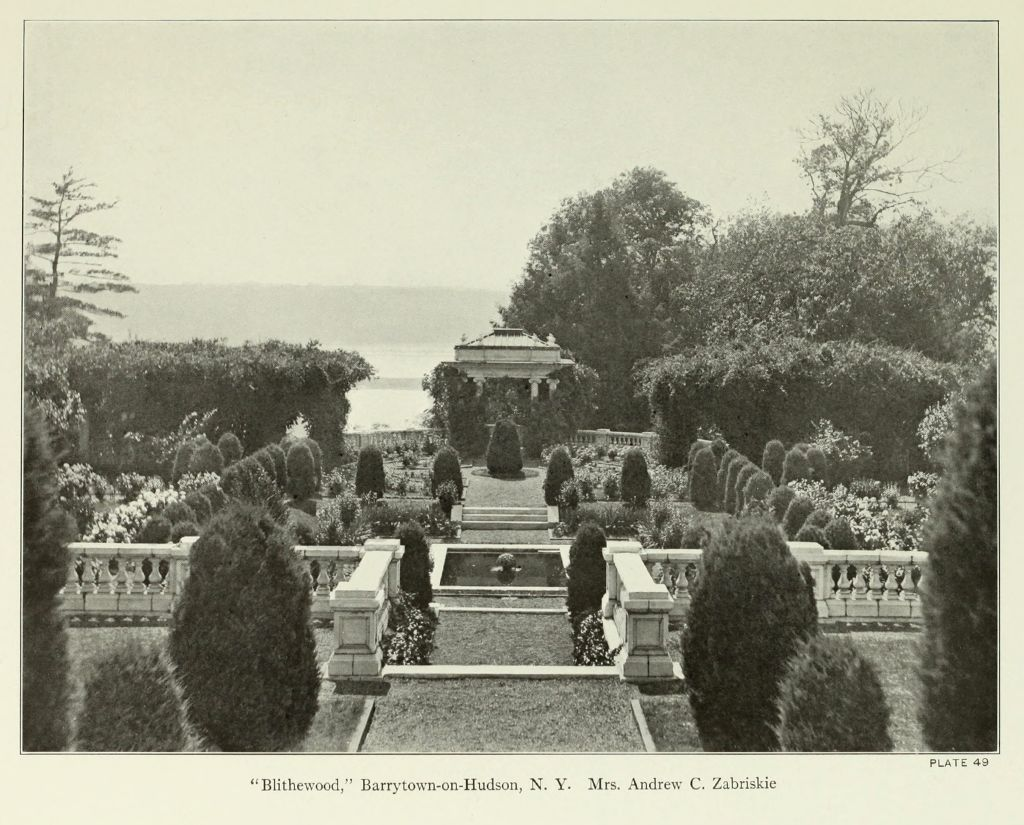 Photograph of Blithewood Garden from  Beautiful Gardens in America, by Louise Shelton