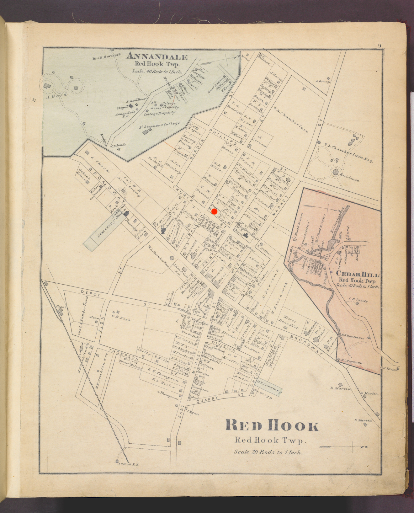 Location of Gilson's house in Red Hook Village.