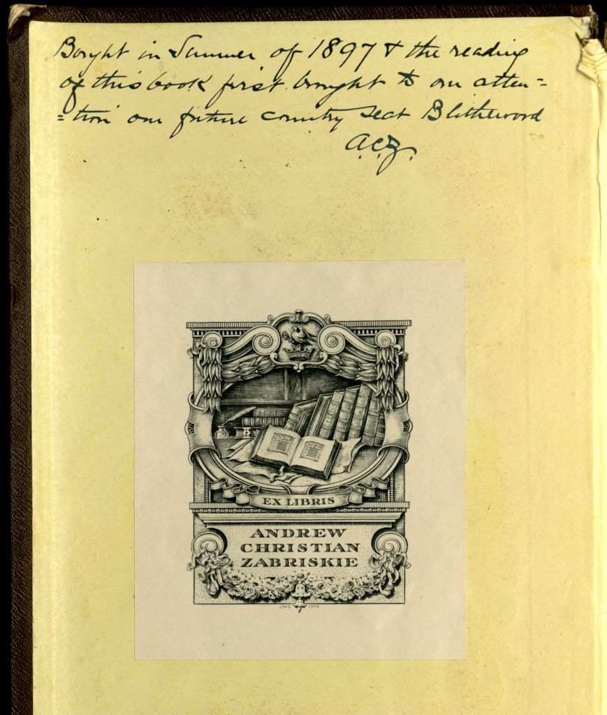 Inscription and bookplate in the 2nd edition of Downing's Landscape Gardening and Rural Architecture