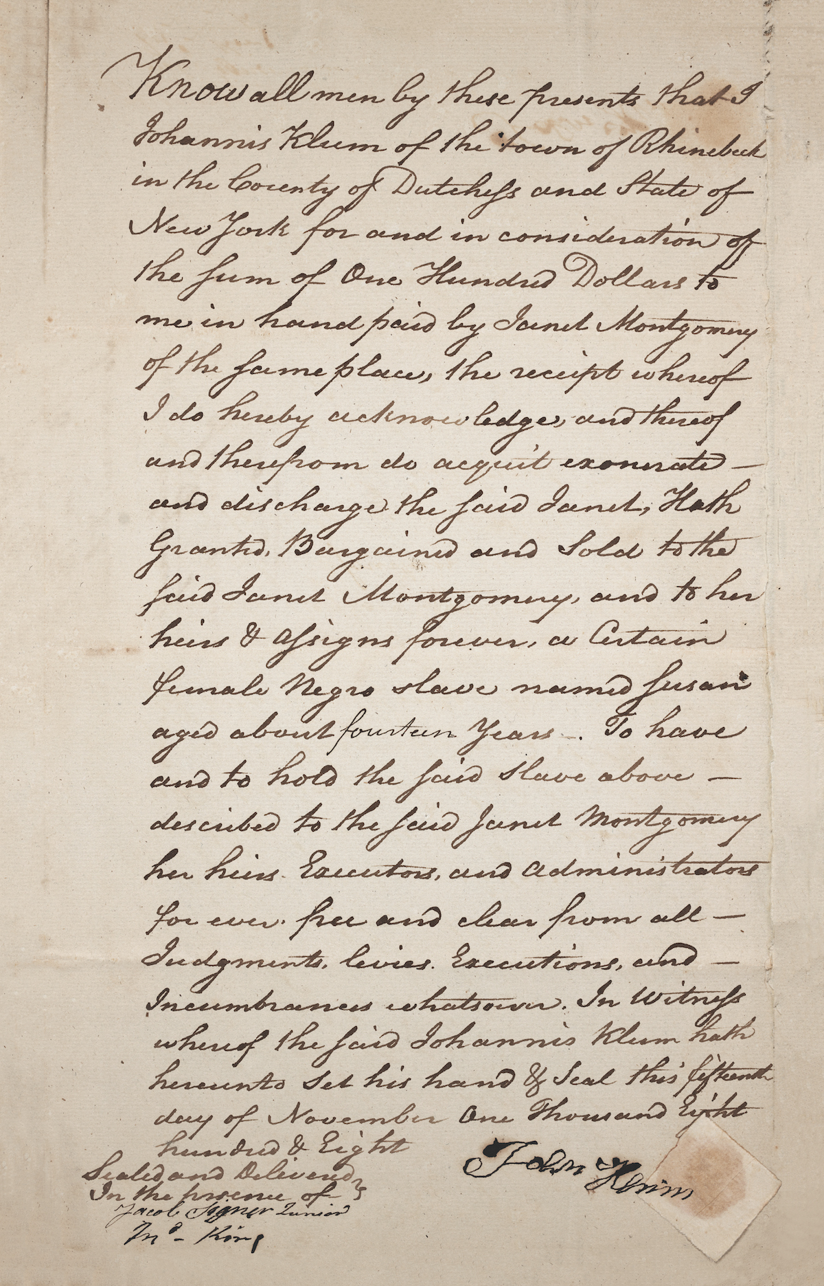 """Bill of sale for Susan, """"a female Negro slave,"""" from Johannes Klum to Janet Montgomery, November 15, 1808."""