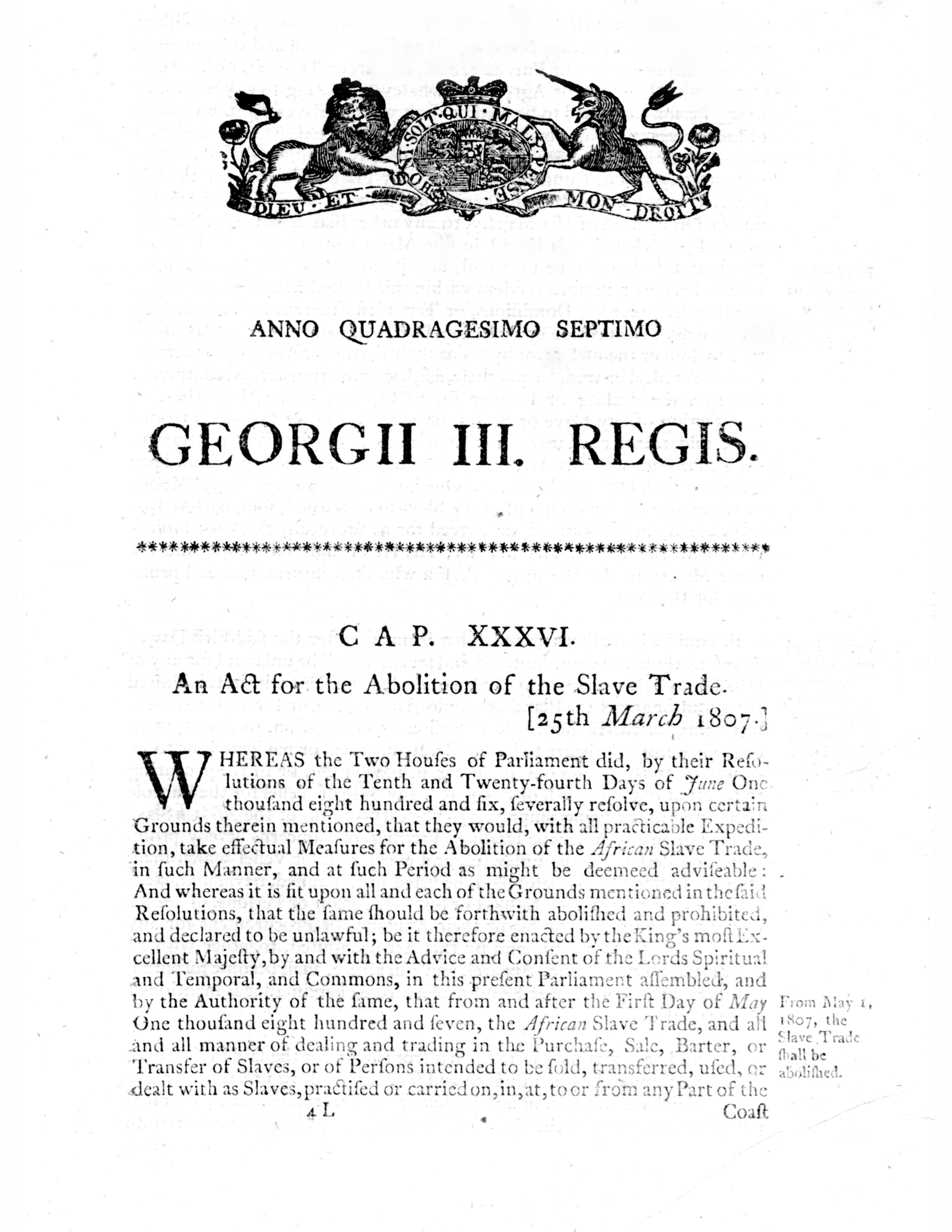 Parliament (George III) An Act for the Abolition of the Slave Trade, 25 March 1807
