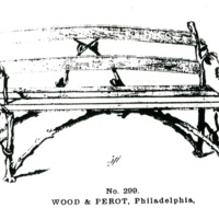 Cast-iron and wooden settee, the cast-iron supports in the twig, or rustic, pattern, the seat and back composed of wooden slats